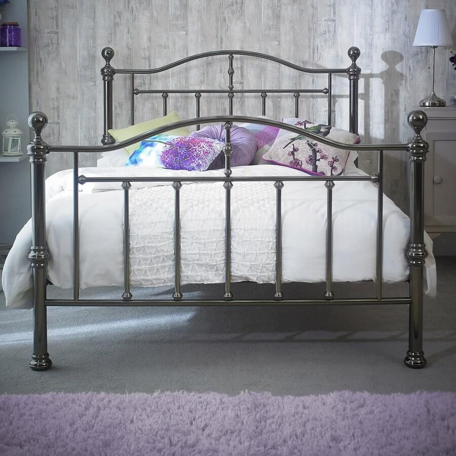 Victoria Black Nickel Double Bed Frame